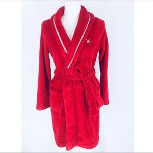 Victoria's Secret Fuzzy Red VS Logo Robe